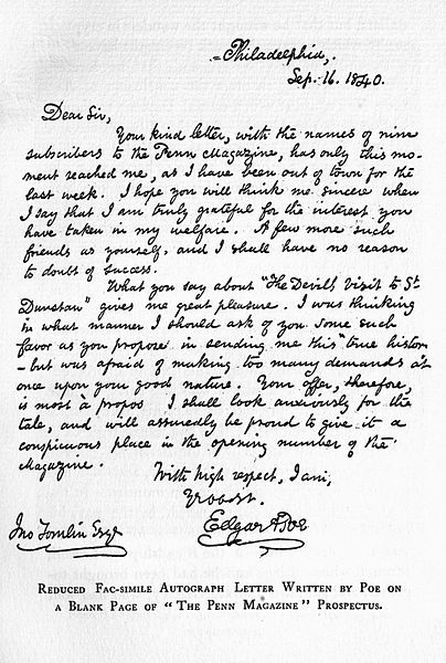 edgar allan poe, carta escrita por el