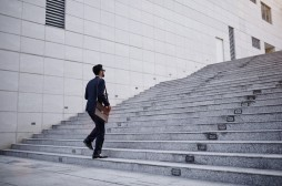 Businessman on stairs