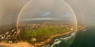Video del arcoirís en 360 grados, arcoirís en 360 grados, acoíris, Brit Bernie Elche, Spinnaker Tower, Inglaterra, perspectiva, atmósfera, ilusión ópticaa